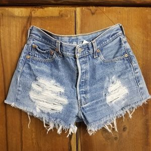 Levi's Distressed Blue Jean Shorts